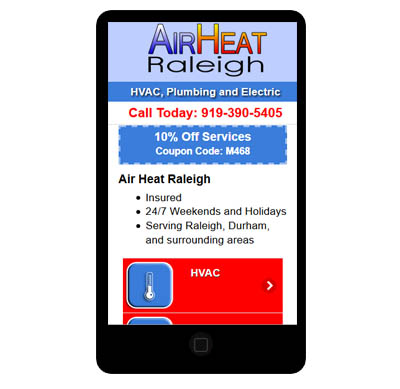 Mobile phone app for Air Heat Raleigh before they got their new mobile responsive website redesign