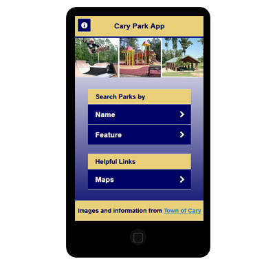 Cary Park App is displayed on a mobile phone and is used for finding parks in Cary, NC.